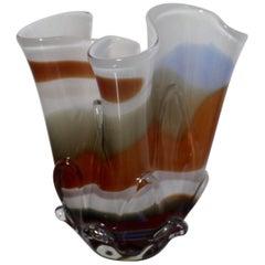 Midcentury Fazzoletto Handkerchief Multicolored Murano Glass Vase, 1970s