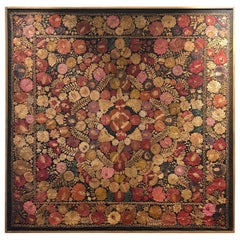 Large 19th Century Italian Floral Art Needlework Framed Tapestry