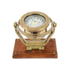Brass and Glass Nautical Compass on Oak Wooden Board, London, 1860