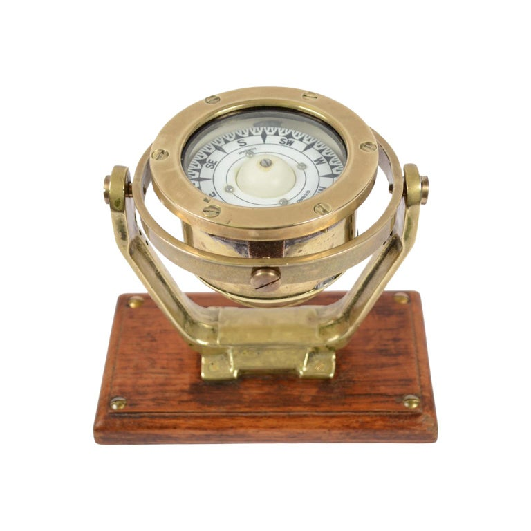Brass and Glass Nautical Compass on Oak Wooden Board, London, 1860 For Sale