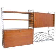Nisse Strinning Wall System String Shelf in Teak Wood, 1950s