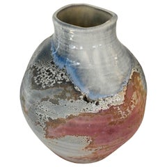 Large Raku Fired Abstract Pottery Vase by American Potter Tony Evans