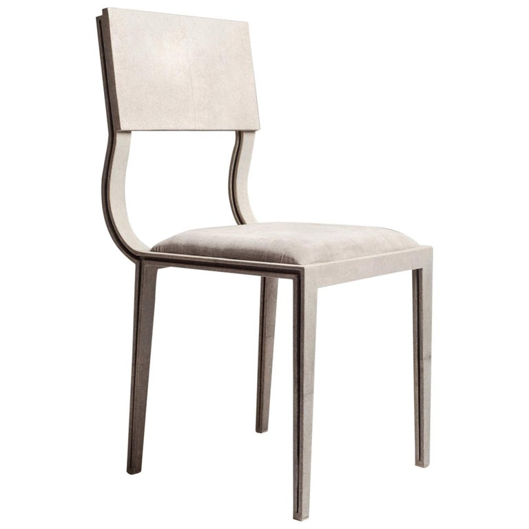 Lola Chair in Cream Shagreen with Cream Upholstered Seat by R&Y Augousti For Sale