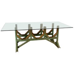 Adjustable and Customizable Painted Metal and Wood Table Base, Industrial Style
