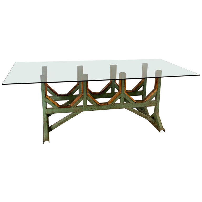 Heavy-duty Industrialgreen painted metal and wood table bases  Color of metal bases can be customized to individual needs for an additional fee. Glass top can be customized to individual needs for an additional fee and shipped directly.  The
