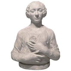 19th Century Plaster Bust after Verrocchio's 'Dama Col Mazzolino'