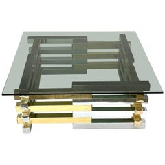 Pierre Cardin Midcentury Brass and Chrome French Coffee Table, 1970s
