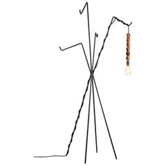 Joca Lamp and Coat Hanger, Contemporary Coat Hanger in Metal and Noble Wood