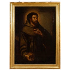 18th Century Oil on Canvas Spanish Religious Painting Saint Francis, 1780