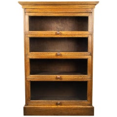 English Barrister Bookcase in Solid Oak, circa 1930s