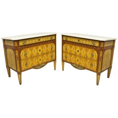 Pair Floral Painted Travertine Marble Top Commode Chest Dresser by E.J. Victor