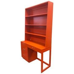 Mid-Century Modern Orange Lacquer Writing Desk Bookcase Secretary