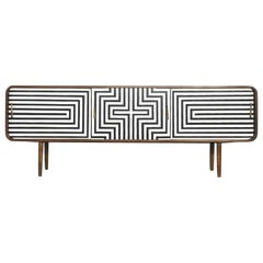 Mid-Century Modern Scandinavian Rounded Walnut Sideboard with Pattern, 1960s