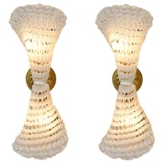 Pair of 1950s Murano Glass and Brass Striped Wall Lights