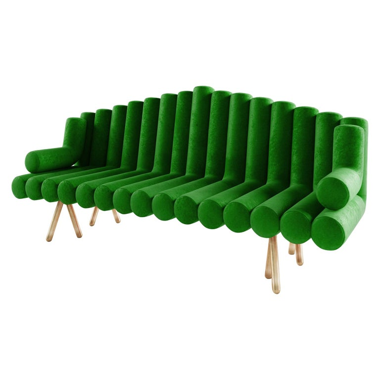 Green Velvet Sofa With Brass Legs For Sale