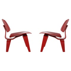 Mid-Century Modern Red Plywood Lounge LCW Chairs by Eames for Herman Miller