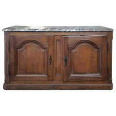 18th-19th Century French Louis XV Marble-Top Buffet, Mellow Finish