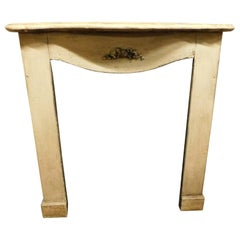 """19th Century Antique Fireplace Beige Lacquered Wood, with Ribbon """"knot of love"""""""