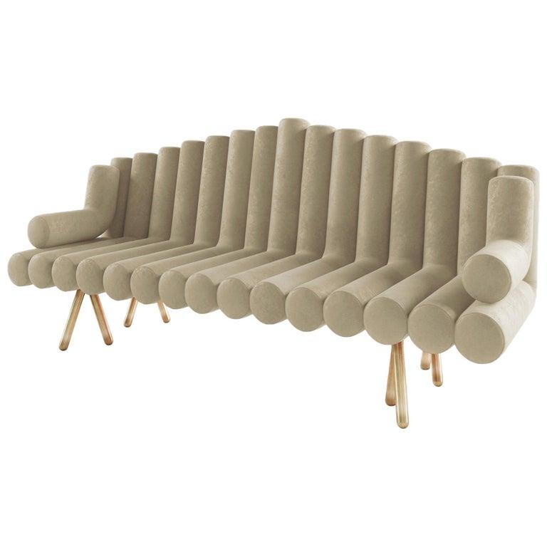 Cream Velvet Sofa With Brass Legs For Sale