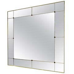 Pescetta Art Deco Style Contemporary Panelled Brass Frame Mirror with Studs
