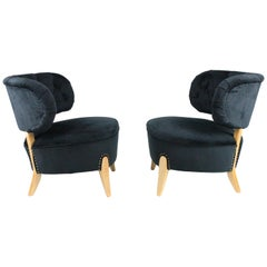 Pair of Newly Upholstered Otto Schulz Lounge Chairs by Boet, Sweden, 1930-1940s