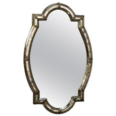 Midcentury Venetian Style Mirror with Gilt Brass Accents