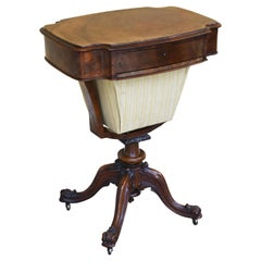 19th Century Victorian Burr Walnut Work Table