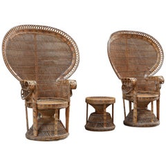 Hollywood Regency Vintage Wicker Peacock Armchairs and Stool, Italy, 1970s