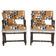 Pair of French Oak Carved Armchairs circa 1700, Later Reupholstered
