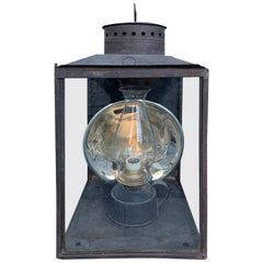 Large 19th Century American Tole Kerosene Lantern with Mercury Glass Reflector
