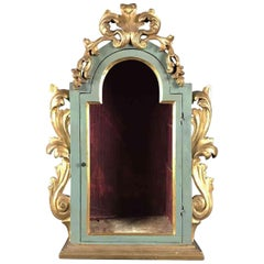 19th Century Italian Green Painted Giltwood Showcase Theca for Sculptures