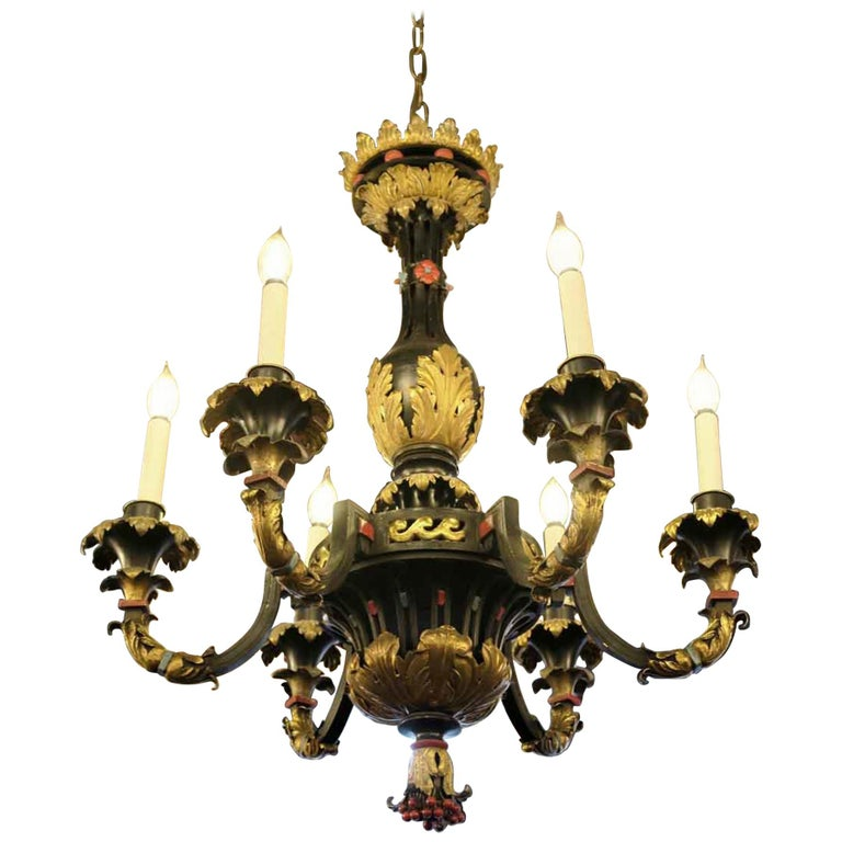 French Hand Painted Bronze and Gilt Metal Chandelier with Berries and Floral For Sale