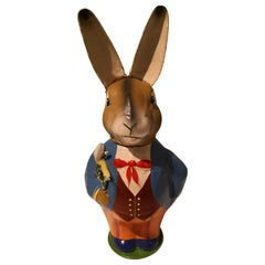 German Vintage Easter Candy Box Bunny Figure Papier Mache
