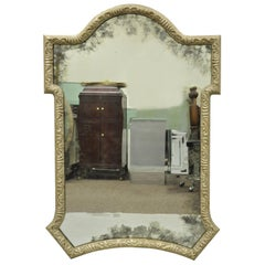 Decorator Carved Wood Distressed Silver Finish Looking Glass Large Wall Mirror