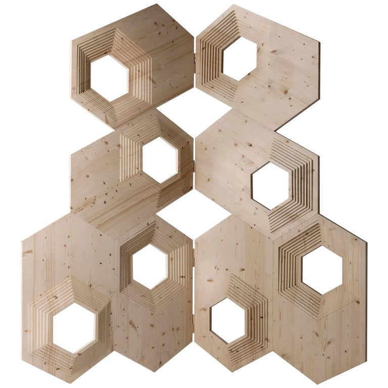 Contemporary Geometric Wood Room Divider by Sebastiano Bottos, Italia For Sale
