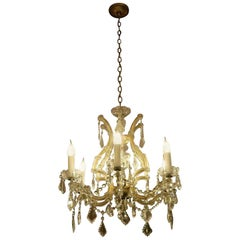 1920s, Marie Therese Six Arm Crystal Chandelier