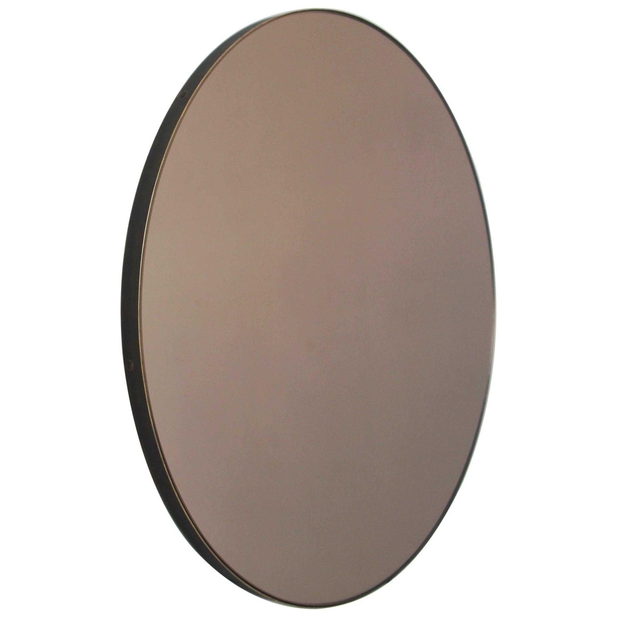 Orbis™ Bronze Tinted Round Modern Mirror with Bronze Patina Frame - Medium