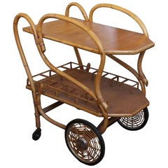 1951 Halle Bros. Mid-Century Modern Bamboo Tea or Bar Cart with Spider Wheels
