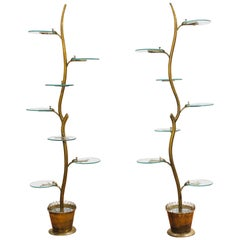 Pair of Brass Plant Stands Etagere