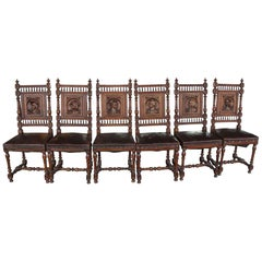 1880s Set of Six Renaissance Carved English Oak and Leather Dining Chairs