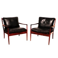 "Danish Midcentury Pair of ""Samso"" Lounge Chairs by Ib Kofod-Larsen, 1960"