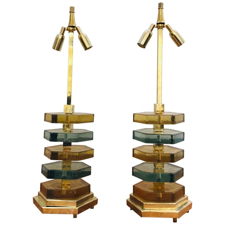 Pair of Italian Brass and Murano Colored Glass Table Lamps For Sale