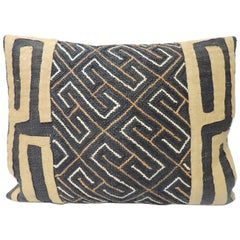 Vintage Yellow and Black African Artisanal Embroidered Decorative Bolster Pillow