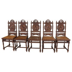 1910s Set of Five Antique English Renaissance Carved Wood & Wicker Chairs