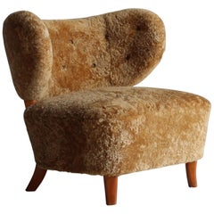 Otto Schulz 'Attributed,' Modernist Lounge Chair, Sheepskin, Beech, 1940s