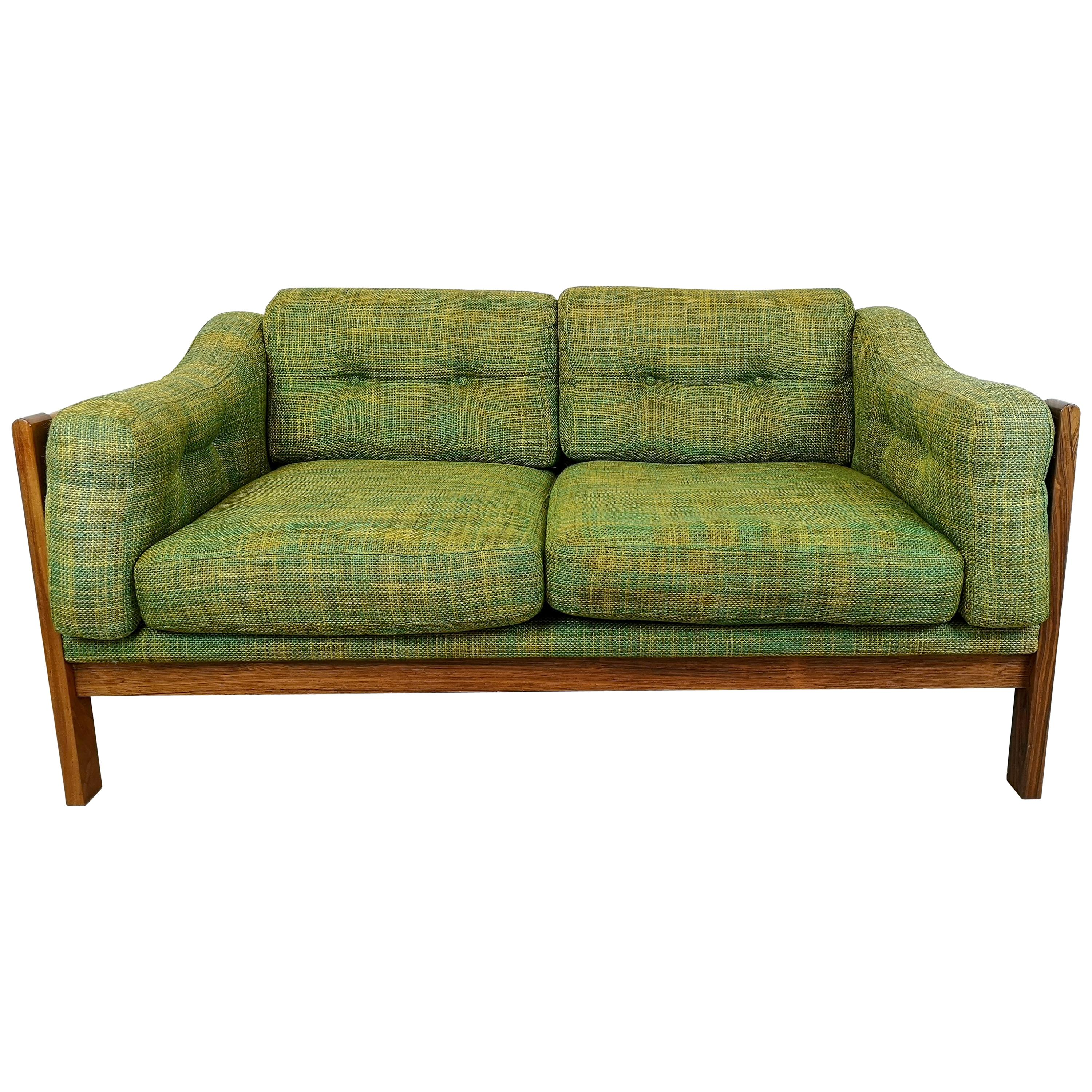 """Midcentury Rosewood and Green Cushions Sofa """"Monte Carlo"""", Sweden, 1960s"""
