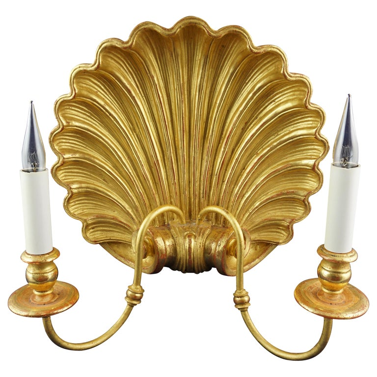 Leone Cei 3300 Regency-Style Shell Wall Light, Hand Carved and Gilded in Italy For Sale