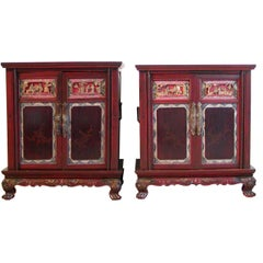 Pair of Lacquered Chinese Bedside Cabinets