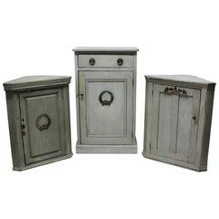 Three Swedish Painted Cupboards