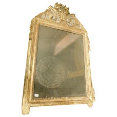 Antique Small Golden Wood Mirror, Laurel and Arrows on a Blue Background